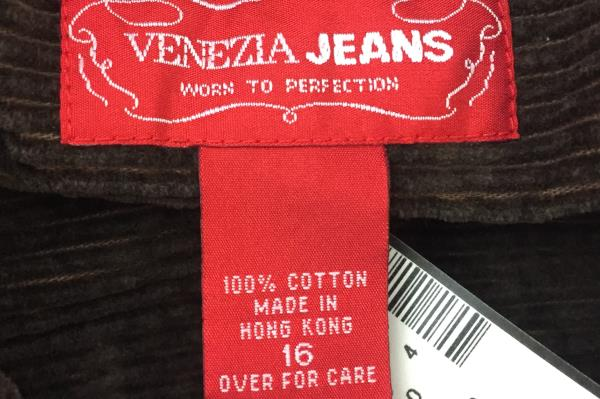 Venezia Jeans Women's Vest Brown Corduroy 2 Pockets Size 16