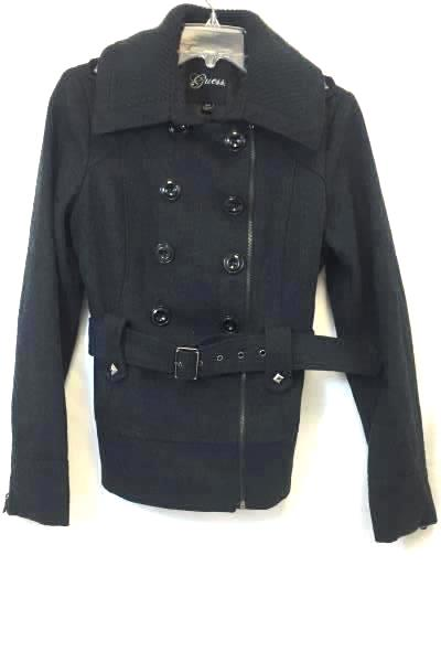 Peacoat Jacket By Guess Solid Dark Gray Belt Buttons 55% Wool Women's S/P
