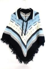 Blue and White Honduras Hand Woven Poncho Drape Fringe Outdoors Camping One Size