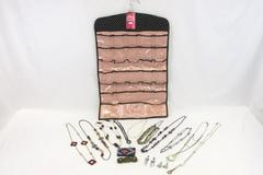 Big Lot Of Assorted Jewelry With Hanging Jewelry Organizer *With TAG* Pink Black