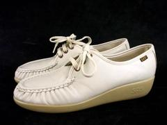 SAS Beige Tan Comfort Shoes Wedge Walking Work Lace Up Loafer Women's Sz 10.5 M