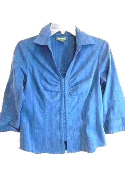 Great Northwest Clasp Up Shirt Long Sleeve Blue Striped Women's Size M V-Neck