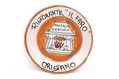 """Ristorante """"IL FARO"""" Oristano 1981 Decorative Plate Ceramic Trattalia Arrustia"""