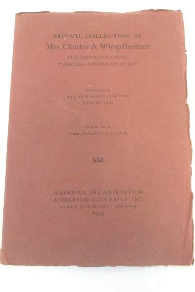 Private Collection Furniture Art Auction Catalog New York 1935