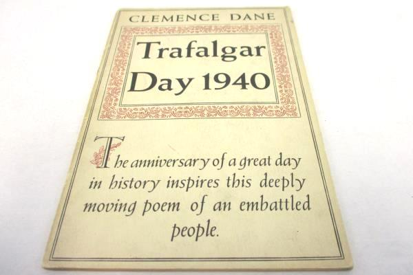 Trafalgar Day 1940 By Clemence Dane Alfred Williams Leaflet PB Booklet Poetry