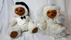 Vintage Raikes Brown Bears White Bride And Groom Pair w/ Wood Faces And Paws