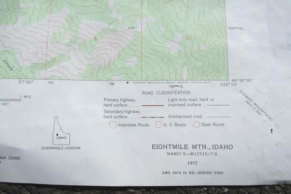 "Idaho Topography 1972 Provisional Map Eight Mile Mountain Geological Survey 87""W"