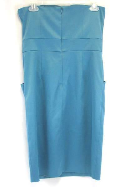 Women's Turquoise Blue Strapless BCBG Paris Formal Dress Pockets Size 8