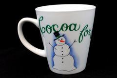 "Pier 1 One ""Cocoa for Santa Claus"" Snowman Cocoa Coffee Mug Winter Snow"