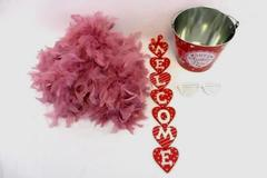 Lot Of 4 Happy Valentines Day Bucket Pink Feather Boa Be Mine Hanging Sign