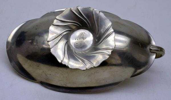 Vintage C & C Pewter Candy Nut Scallop Edge Handle Dish Serving Party Dinner