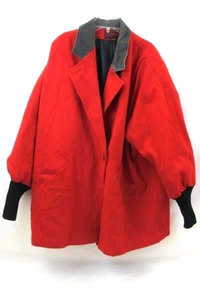 Jacket By Patina International Red  Black Leather Collar Women's Size XXL
