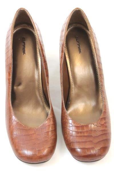 """Curfew Heels Snake Print Pattern Slip-on Brown Shoes 4"""" Women's Size 10"""