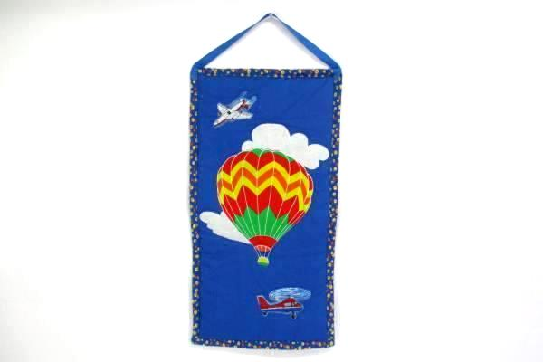 Hot Air Balloon Helicopter Plane Art Tapestry Wall Hanging With Dowel Rod