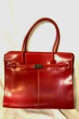 Wilsons Leather Red Executive Tote Bag Removable Insert Handle Buckled Strap
