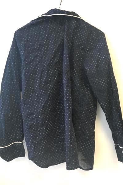 GAP Body Women's Button Up Pajama Shirt Navy Blue Polka-dotted Size M