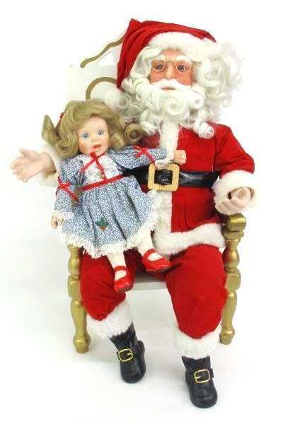 "Danbury Mint A Visit With Santa 2 Doll Set Original Box 18"""