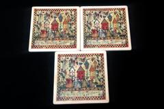 "Set of 3 Cork-Based Coasters Folk Art Home Decor ""All Things Great and Small"""
