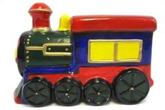 Vintage Hand Painted Train Coin Bank Noisemaker Slot & Plug Included