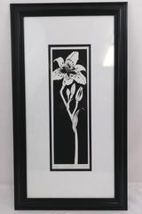 """Lily"" Signed Framed Paper Cut Wall Art Cindy Stinson-Chennell"