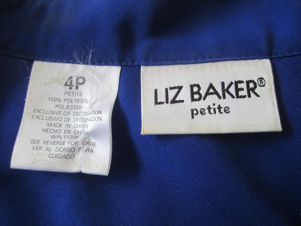 Liz Baker Women's Petites Button Up Solid Blue Blouse Polyester Size 4P