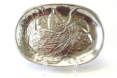 Vintage Silver Tone Metal Oval Rooster And Duck Serving Tray