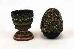 Nancy Bonner Hand Crafted Wood Egg And Egg Cup Adorned With Beads
