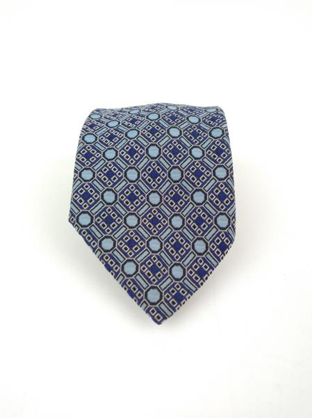 Vintage 70s HABAND Neck Tie, Blue Geometric Tile Polyester Woven in Como Italy