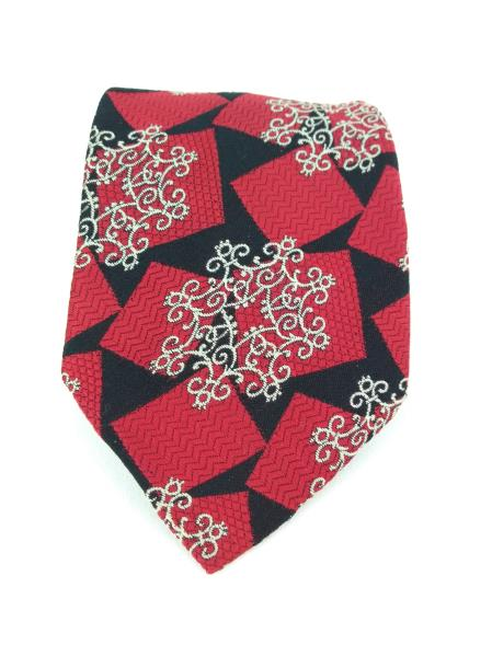 Vintage 70s HABAND Neck Tie Red Squares & White Medallions Woven in Como Italy