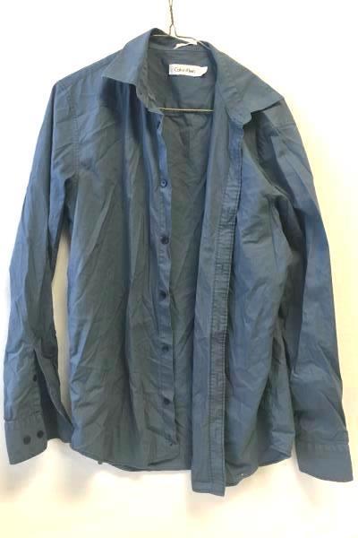 Calvin Klein Men's Steel Blue Full Button Up Long Sleeve Shirt Size S
