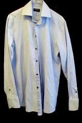 Domani Men's Blue & White Striped Full Button Up Long Sleeve Dress Shirt Size M