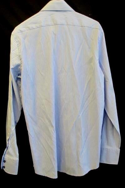 Domani Men's Blue & White Striped Full Button Up Long Sleeve Dress Shirt Size M