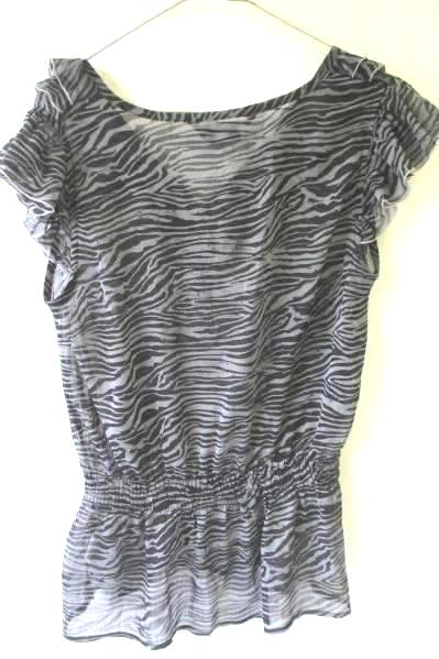 Miley Cyrus Max Azria Women's Gray & Black Zebra Print Pattern Blouse Size Large