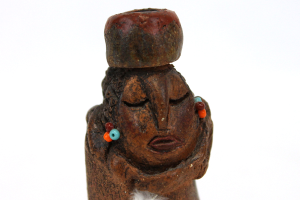 Vintage South American Pottery Clay Woman Figurine Signed DKS