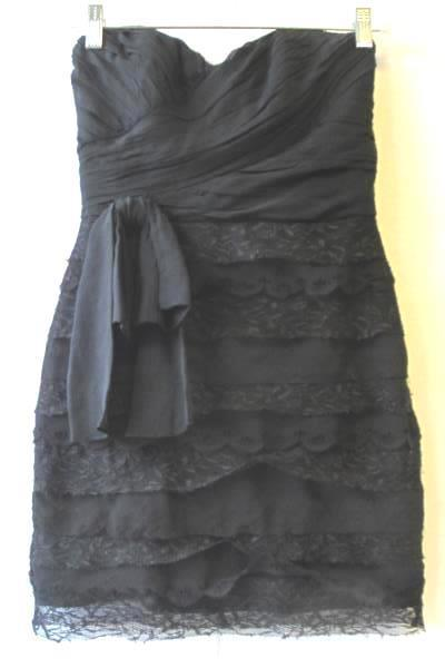 Badgley Mischka Collection Black Lace Bow Zipper Women's Strapless Dress Size 0