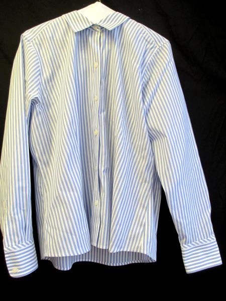 Eddie Bauer Men's Dress Shirt Blue & White Long Sleeve Collar Stripes Size L