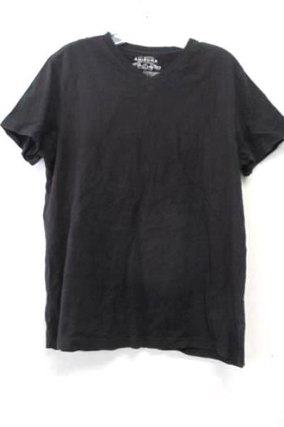 Arizona Jean Company Women's Solid Black Short Sleeve Cotton Shirt Size Large