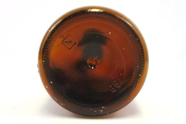Obear-Nestor Glass Company Brown Glass 1 Qt Bottle Finger Loop Handle Lid 18B N