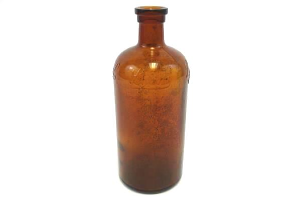 "VTG Amber Glass Lysol Bottle Bloomfield N.J. USA Brown 6"" Brockway B Bottle Mark"