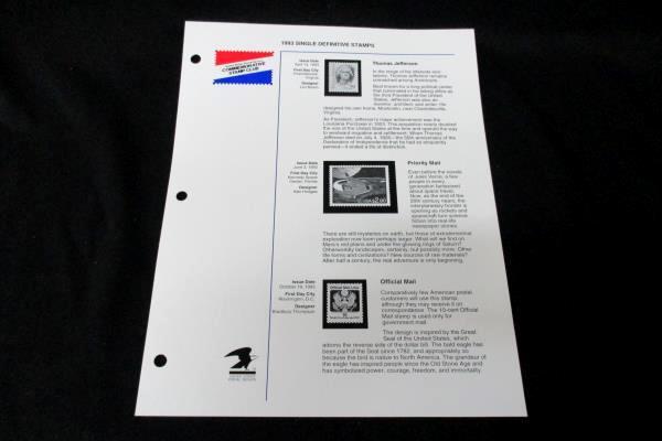 1993 CSC USPS Definitive Single Stamp Page Thomas Jefferson Priority Mai