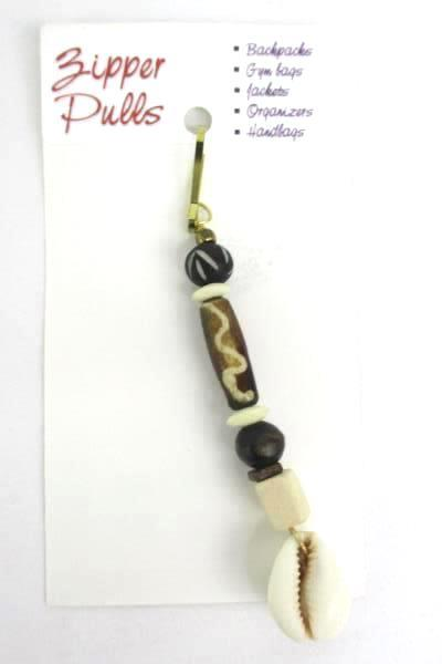 2 Love Those Beads Beaded Neutral Tone Seashell Zipper Pull Stocking Stuffer