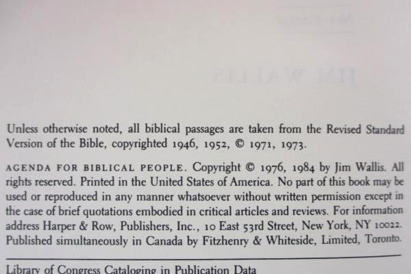 1984 Agenda for Biblical People Paperback by Jim Wallis