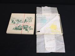 2 Gerbrend Linen Embroidered Ladies Handkerchief 1970's Marshall Field Xmas Box