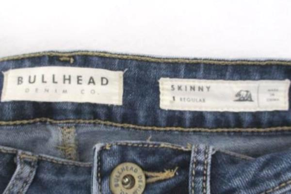 Bullhead Denim Jeans Skinny Stretch Juniors Whiskering Medium Wash Women's 1 Reg