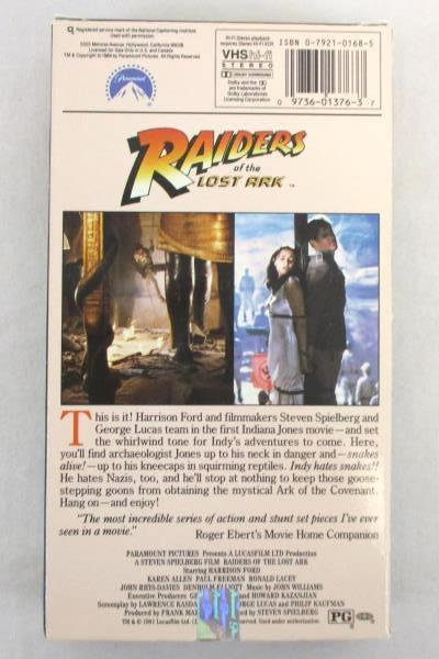 Lot of 2 Harrison Ford VHS Movies Indiana Jones Raiders Lost Ark & Last Cursade