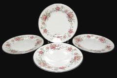 "Set of 4 Salad Plates 7.75"" Spring Time White with Platinum Gilt Primrose Vine"