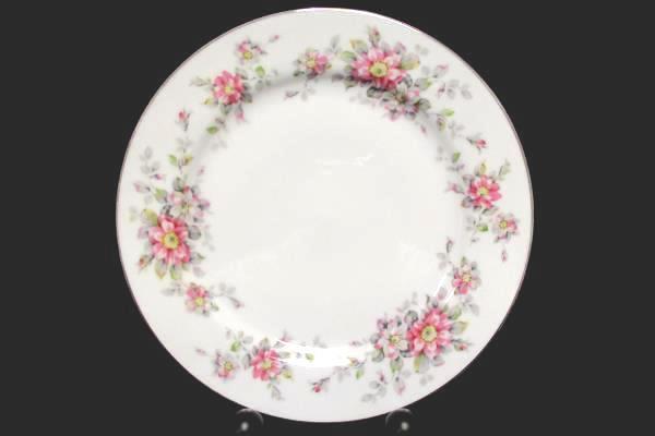 "Set of 4 Salad Plates 7.75"" Spring Time White with Platinum Gilt Primrose Vine"