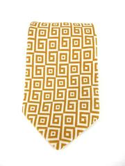 Vintage 70s LYTTON'S  Gold and White Geometric Neck Tie Polyester Woven