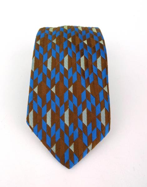 Vintage LYTTON'S  Brown and Blue Geometric Neck Tie Polyester Switzerland Woven