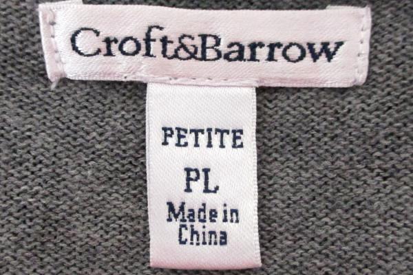 Croft & Barrow Women's PL Black Gray Cheetah Animal Print Cardigan Sweater